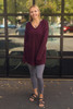 Activated Athletics Burgundy Long Sleeve Hoodie Top full body front view (small).