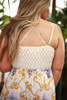 Girls Weekend Paisley Sleeveless Maxi Dress with Crochet Lace Bodice back view.