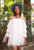 Layered Angel Cream Off Shoulder Dress front view.