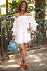 Layered Angel Cream Off Shoulder Dress full body front view.