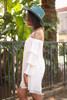 Layered Angel Cream Off Shoulder Dress side view.