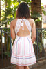 Spring Fling Off White Striped Lace Sundress back view.