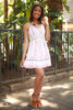 Spring Fling Off White Striped Lace Sundress full body front view.