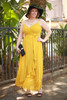 Goddess in Gold Mustard Chiffon Maxi Dress front view.