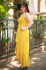 Goddess in Gold Mustard Chiffon Maxi Dress side view.
