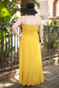 Goddess in Gold Mustard Chiffon Maxi Dress back view.