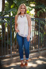 Classy Lady Natural Crochet Lace Sleeveless Top full body front view (Small).