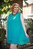 Summer in Teal Polka Dot Sleeveless Shift Dress front view.