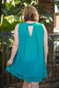 Summer in Teal Polka Dot Sleeveless Shift Dress back view.