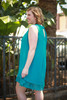 Summer in Teal Polka Dot Sleeveless Shift Dress side view.