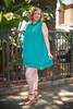 Summer in Teal Polka Dot Sleeveless Shift Dress full body front view.