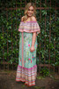 Siesta Dreams Sage Floral Printed Off Shoulder Maxi Dress side view.