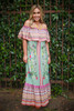 Siesta Dreams Sage Floral Printed Off Shoulder Maxi Dress front view.