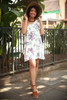 Natural Beauty Floral One Shoulder Ruffle Dress full body front view.