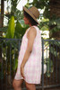 Ravishing in Rose Checker Printed Sleeveless Shift Dress side view.
