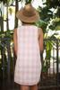 Ravishing in Rose Checker Printed Sleeveless Shift Dress back view.