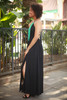 Chic Summer Black Strappy Back Maxi Dress with Slit Skirt side view.