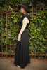 Versatile Style Multi-Way Maxi Dress in Black side view (Deep V Butterfly Back).