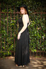 Versatile Style Multi-Way Maxi Dress in Black side view (Deep V Halter Twist Back).