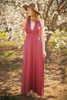 Versatile Style Multi-Way Maxi Dress in Brick front view (Deep V Halter).