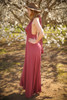 Versatile Style Multi-Way Maxi Dress in Brick side view (Deep V Halter).