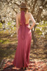 Versatile Style Multi-Way Maxi Dress in Brick back view (Deep V Halter).