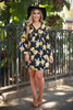 Statement Chic Navy Floral Printed Long Sleeve Babydoll Dress full body front view.