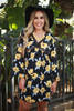 Statement Chic Navy Floral Printed Long Sleeve Babydoll Dress front view.