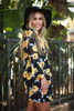 Statement Chic Navy Floral Printed Long Sleeve Babydoll Dress side view.