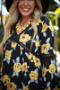 Statement Chic Navy Floral Printed Long Sleeve Babydoll Dress detail view.