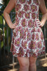 Pixel Posies Natural Floral Print Tiered Shift Dress detail view.