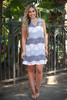 Classy in Dove Color Block Lace Mock Neck Dress full body front view.