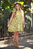 Va Va Voom Citron Olive Floral Print High Neck Sleeveless Dress full body front view.