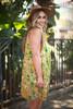 Va Va Voom Citron Olive Floral Print High Neck Sleeveless Dress side view.