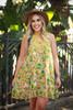 Va Va Voom Citron Olive Floral Print High Neck Sleeveless Dress front view.