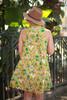Va Va Voom Citron Olive Floral Print High Neck Sleeveless Dress back view.