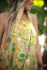 Va Va Voom Citron Olive Floral Print High Neck Sleeveless Dress detail view.