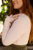 Lace Me Up in Love Cream Long Sleeve Woven Top