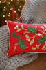 Holly Branch Chain Stitch Pillow
