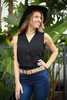 She's a Visionary Black Button Down Sleeveless Top front view.