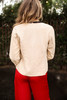 Stylish in Sand Draped Suede Jacket back view.