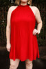 Red-y for Anything Crimson Mock Neck Shift Dress front view.