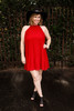 Red-y for Anything Crimson Mock Neck Shift Dress full body front view.