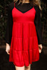 Layer Me Baby Crimson Tiered Babydoll Dress front view.