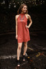 Stylish in Suede Marsala Mock Neck Shift Dress full body front view.