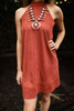 Stylish in Suede Marsala Mock Neck Shift Dress front view.