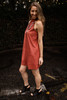 Stylish in Suede Marsala Mock Neck Shift Dress side view.