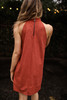 Stylish in Suede Marsala Mock Neck Shift Dress back view.