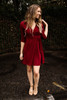 All That Shimmers Burgundy Wrap Dress full body front view.