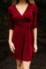All That Shimmers Burgundy Wrap Dress front view.